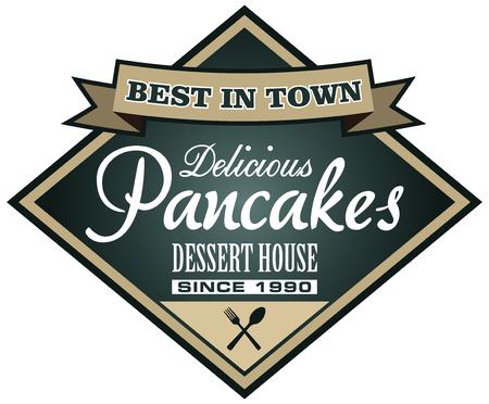 pancake: pancake shop label Illustration