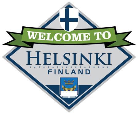 suomi: helsinki finland sticker Illustration
