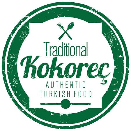 vector icon: turkish kokorec stamp Illustration