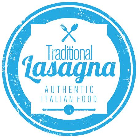 italian cuisine: lasagna stamp