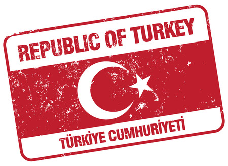 turkey istanbul: republic of turkey stamp Illustration