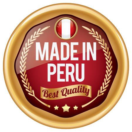 bandera peru: hecho en icono del Per� Vectores