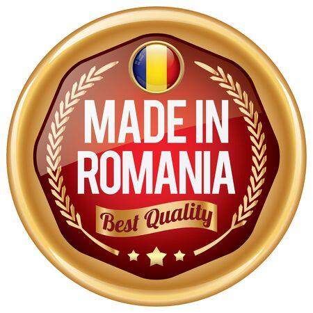 romania flag: made in romania icon Illustration