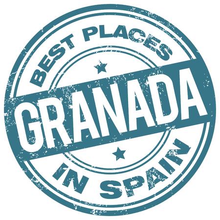 best travel destinations: granada spain stamp
