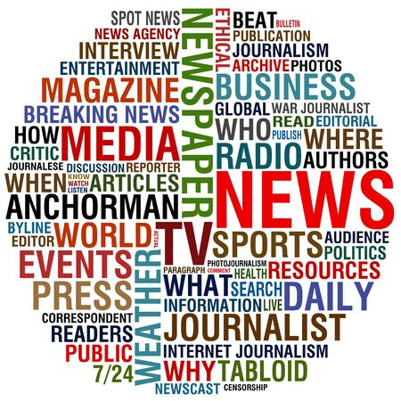 press: word collage about news