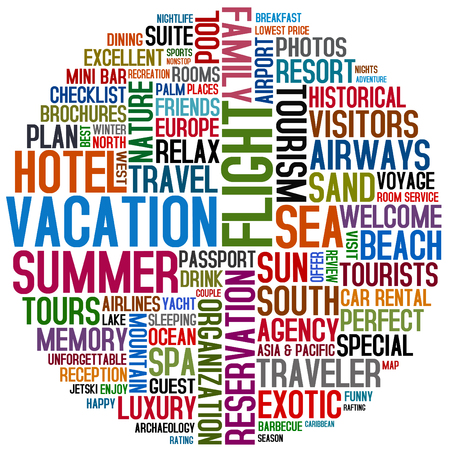 travel collage: word collage about vacation