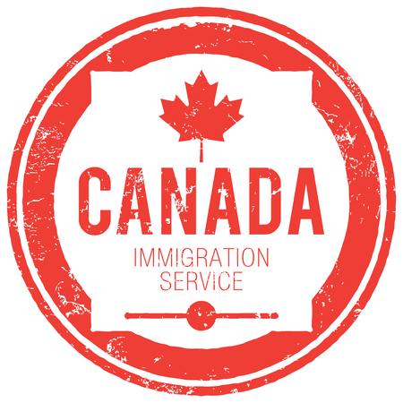 immigration: Canada immigration service stamp Illustration