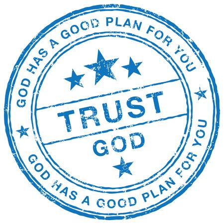 Vertrouw op God stamp Stock Illustratie