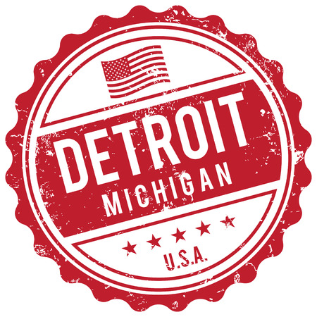 american cities: Detroit Michigan stamp