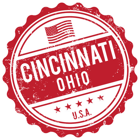american cities: Cincinnati Ohio stamp Illustration