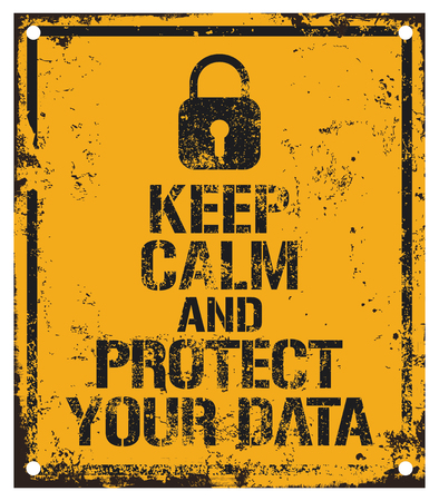 old pc: Data Protection road sign Illustration
