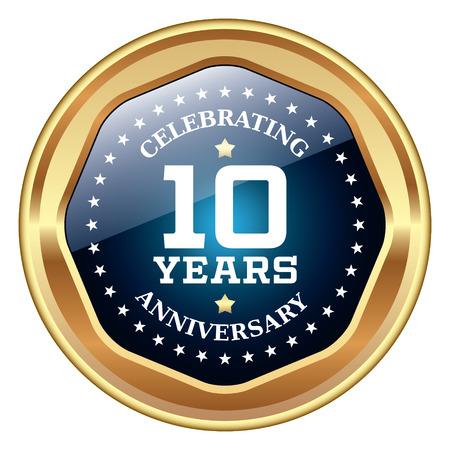 10 jaar jubileum icoon Stock Illustratie