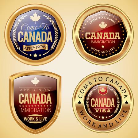 Canada Immigration badges Illustration