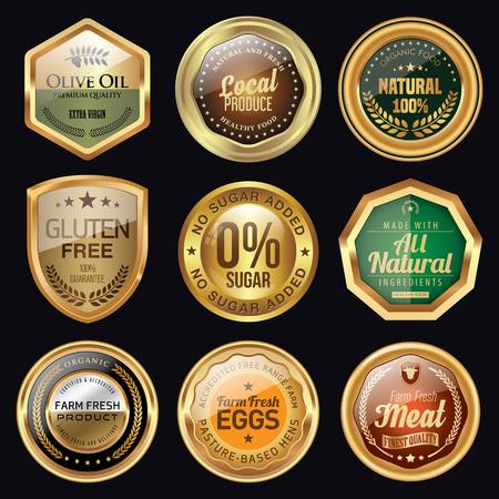 Set of golden food badges
