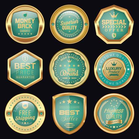 quality guarantee: Set of golden luxury badges Illustration
