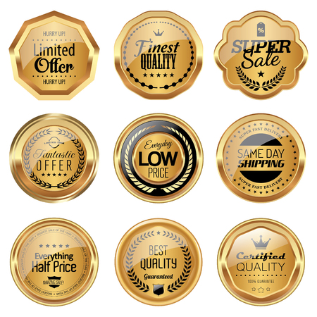 Set of golden luxury badges Illusztráció