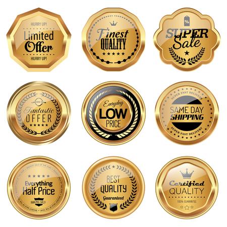 Set van gouden luxe badges Stock Illustratie