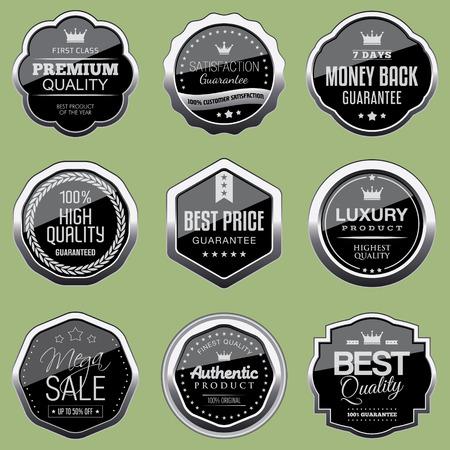 Set of silver luxury badges