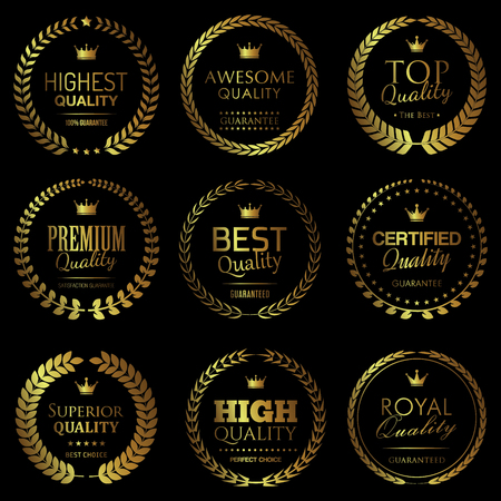 Quality themed golden badges 向量圖像