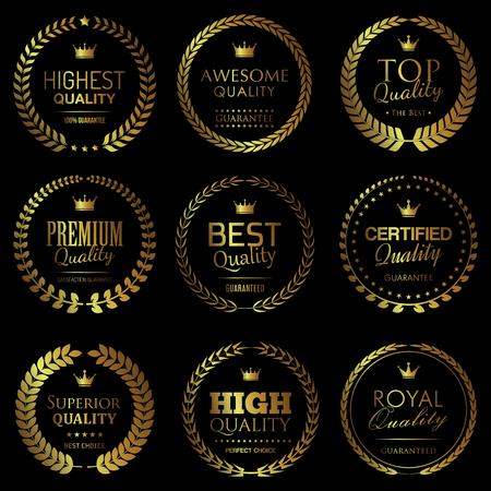 Quality themed golden badges Illustration