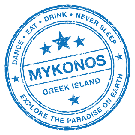 Mykonos stempel Stock Illustratie