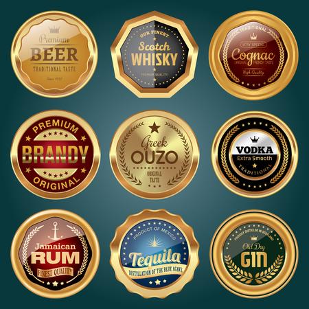 Set of alcoholic drink badges