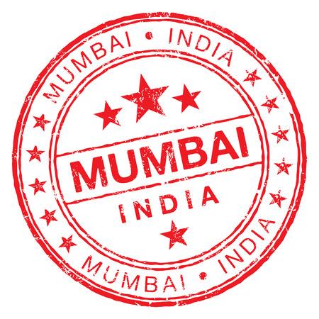 Mumbai 인도의 원형 도장 고무 스탬프입니다. 스톡 콘텐츠 - 84891818