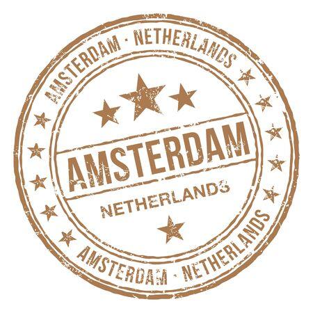 Amsterdam Netherlands Stamp Illustration