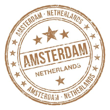 Amsterdam Netherlands Stamp Illustration