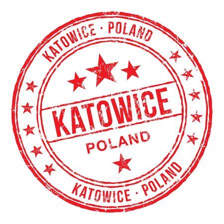 Katowice Polska Pieczątka Ilustracje wektorowe