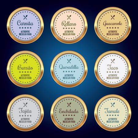 enchilada: Set of Mexican Food Badges Illustration