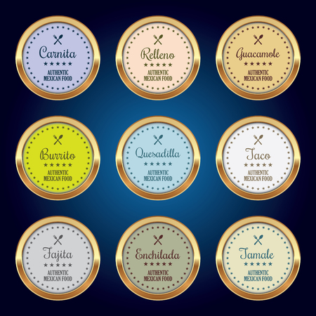 Set of Mexican Food Badges Illustration