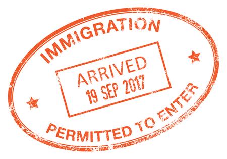 移民ビザのスタンプ