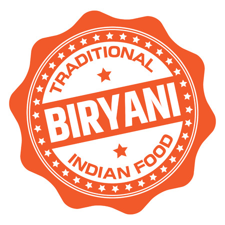 Indian Food Biryani Stamp Иллюстрация