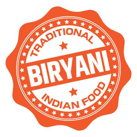 Indian Food Biryani Stamp Illustration