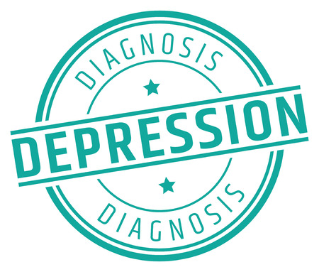 Depression Diagnosis Stamp,in a circular design with green letters in white background, isolated Иллюстрация