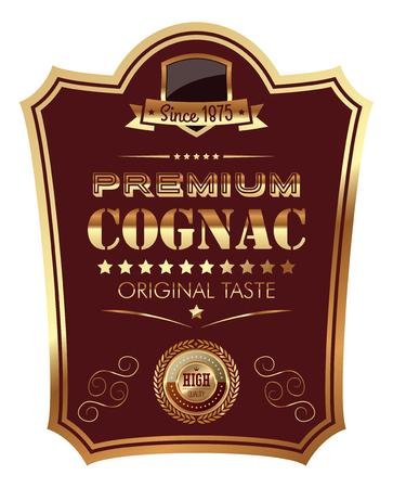 Premium Cognac Label ikona ilustracja projekt naklejki