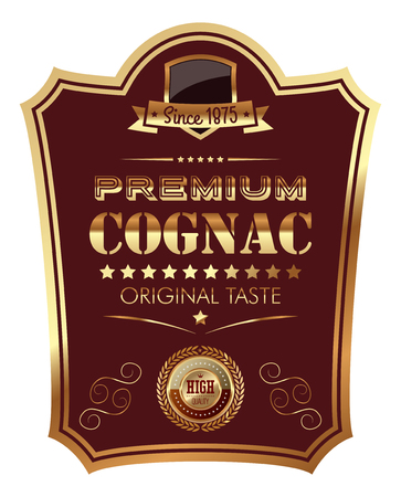 Premium Cognac Label illustration icon sticker design