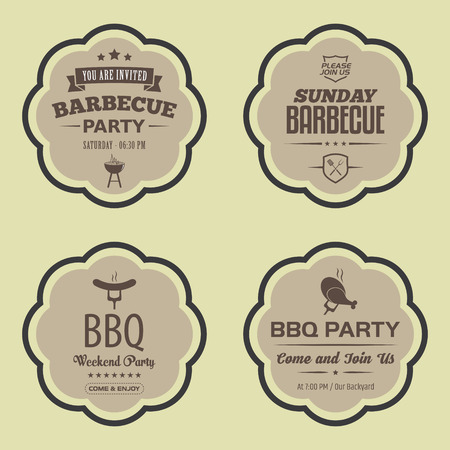Set of Barbecue (BBQ) Badges
