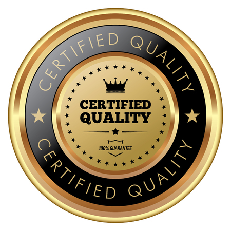 Certified quality badge vector illustration.