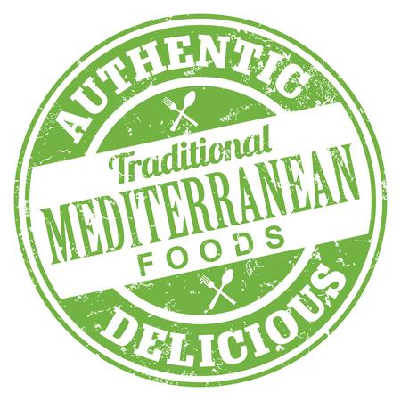 Mediterranean Foods Stamp Vectores