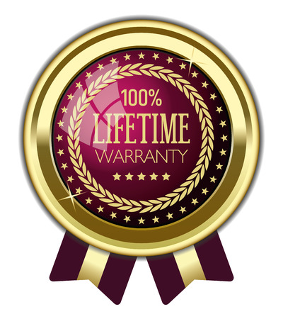 100% Lifetime Warranty Badge Banque d'images - 111452541