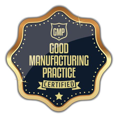 GMP. Good Manufacturing Practice. Golden Badge. Standard-Bild - 117957184