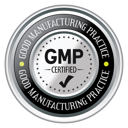 GMP. Good Manufacturing Practice. Vector Silver Badge.