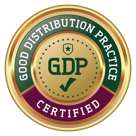 Good Distribution Practice. GDP Certified. Vector Golden Badge.