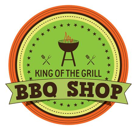 BBQ Shop Label Illustration
