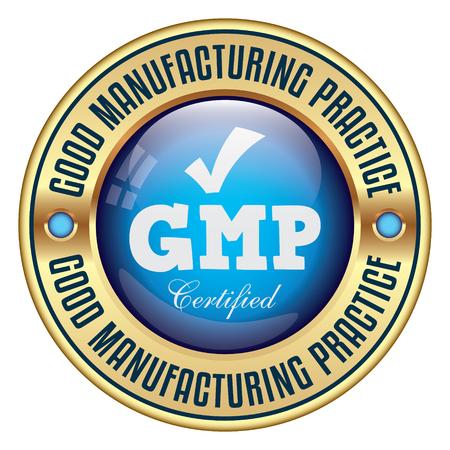 GMP. Buenas Prácticas de Fabricación. Insignia de vector.