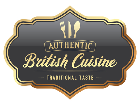 British Cuisine Label Illustration