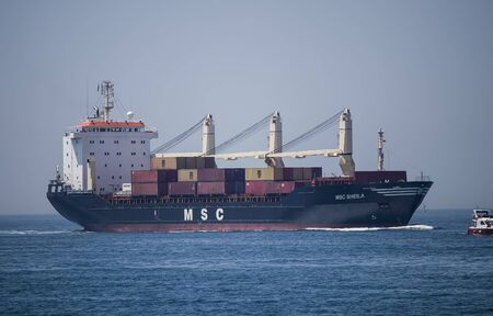 MSC Ship carrying containers in Bosphorus, Istanbul, Turkey Editorial