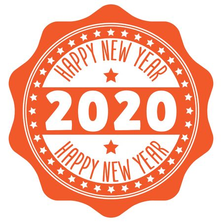 2020 Happy New Year Rubber Stamp on white Illustration